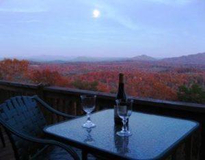 Romantic full moon views from Bella Vista II at Pinnacle Cabin Rentals.